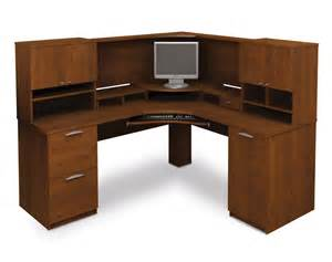 Small Brown Corner Computer Desk Curved Corner Office Table With Brown Veneered Plywood