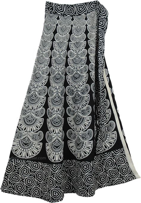 black and white clothing pattern indian cotton long white skirt with ethnic print
