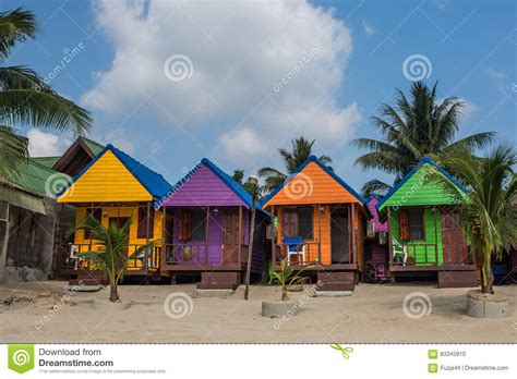 Colorful Cabins by Colorful Huts Stock Photo Image Of Cabins Door 83345910