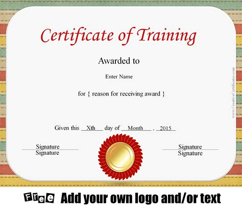 Free Certificate Of Training Template Customizable Customizable Certificate Templates Free