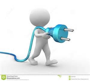 3d man with a electric plug stock images image 32631604