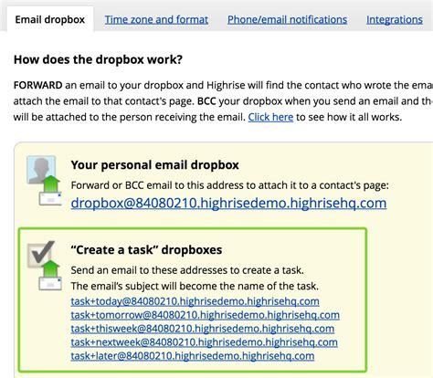 dropbox email task dropbox addresses