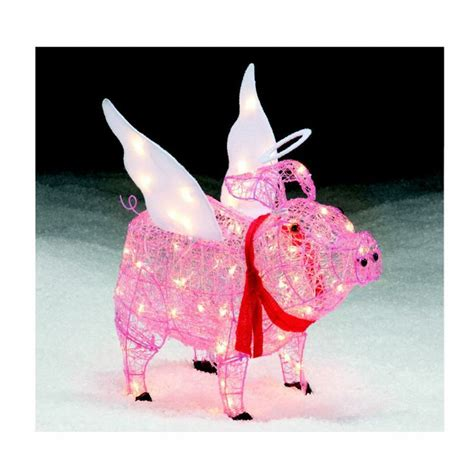 trim a home 28 lighted angel pig outdoor christmas pig christmas decorations outdoors billingsblessingbags org