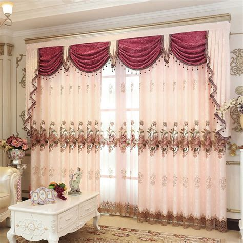 pink valance curtains pink gold brown embroidered beads curtains for living room