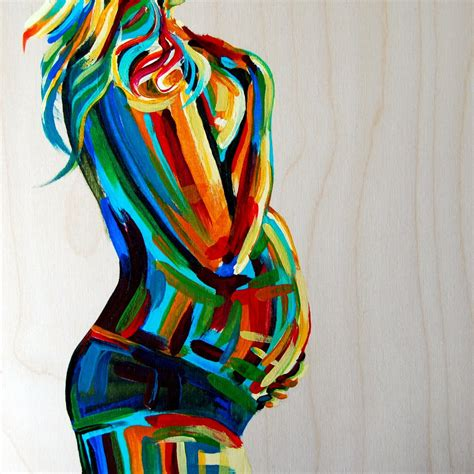 pregnancy painting maternity figure 10x10 birth midwife doula fertility goddess bright colors