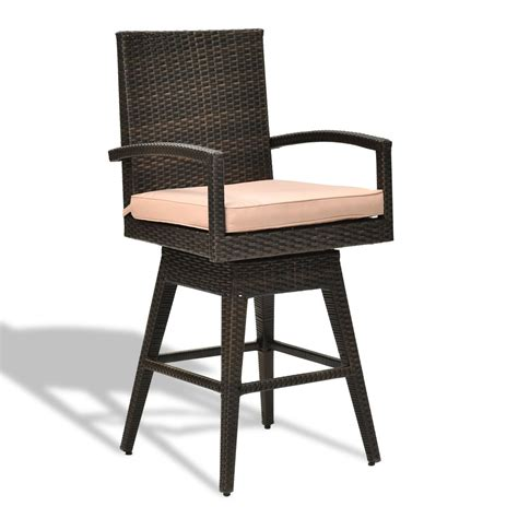 outdoor wicker swivel bar stool chair w seat cushion