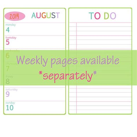 printable planner pages personal printable 2014 monthly planner pages for personal size 3