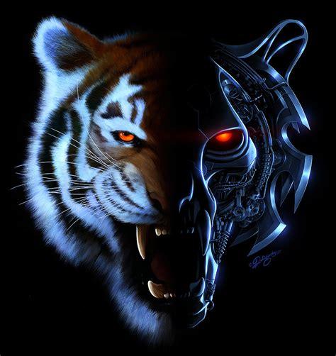 Kaos 3d Tiger Neon nick deligaris illustrations nick deligaris