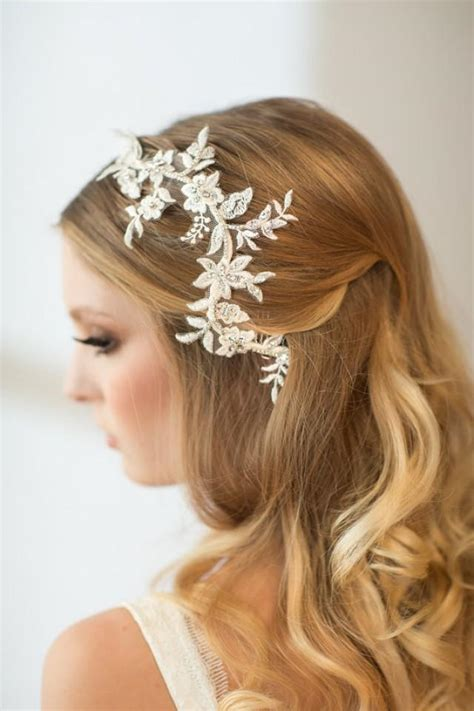 Wedding Hair Accessories Chagne by Wedding Hair Vine Lace Bridal Hair Accessory
