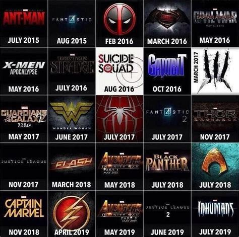 Marvel Upcoming Chart Of Upcoming For Next 4 Years
