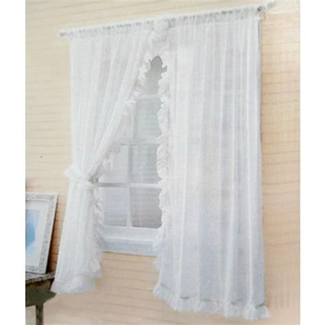 shabby chic white curtains ruffle chic sheer curtain set