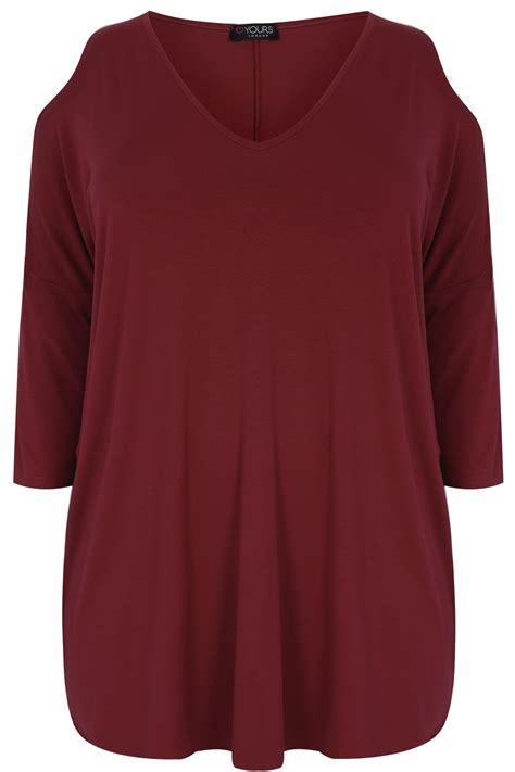 Atasan Kelelawar Jersey 7 Maroon burgundy oversized jersey top with v neck cold shoulder plus size 16 28 20 22 24 26 28 30 32