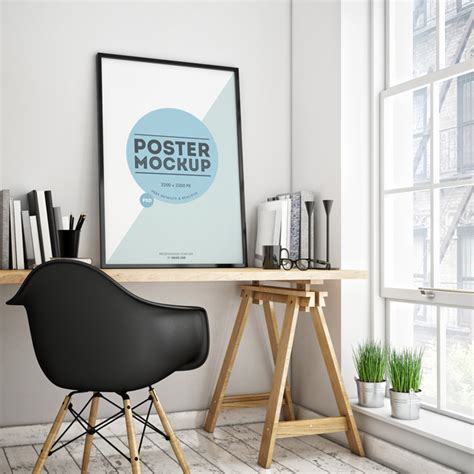 interior design mockup poster in a room psd mockup