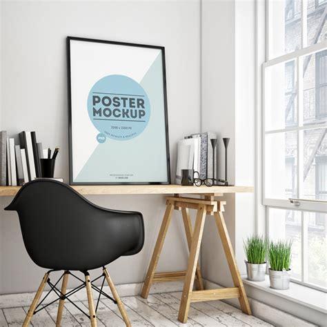mockup room poster in a room psd mockup