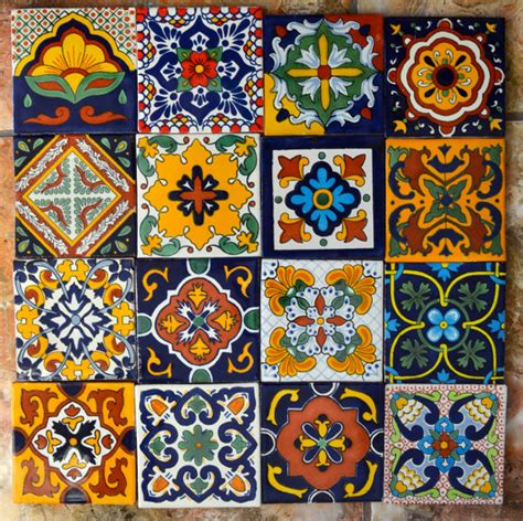Mexican Handmade Tiles - 16 mexican talavera tiles handmade painted 4 x