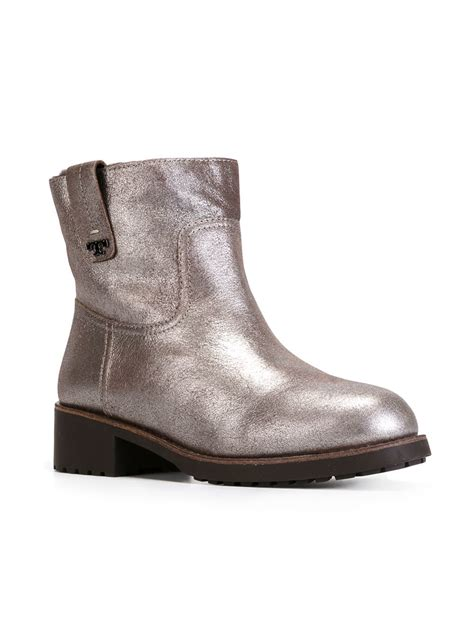 metallic boots burch metallic ankle boots in gold lyst
