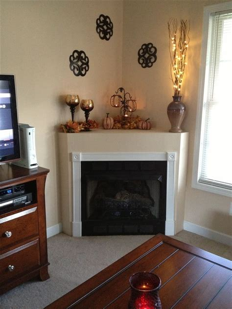 Corner Fireplace Decorating Ideas corner fireplace mantle fall decor fall