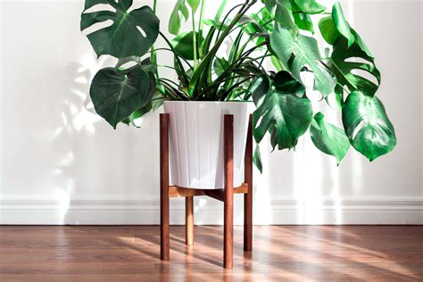 mid century modern planter mid century modern plant stand made in by hookandstemco