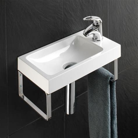 hib solo delta wall mounted cloakroom wash basin one tap