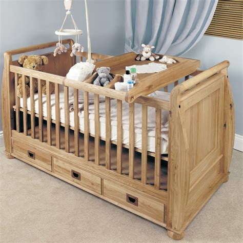 baby cot bed emily solid oak cot top baby changer