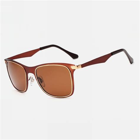 Retro Polarized Sunglasses polarized retro metal square mens sunglasses brown frame