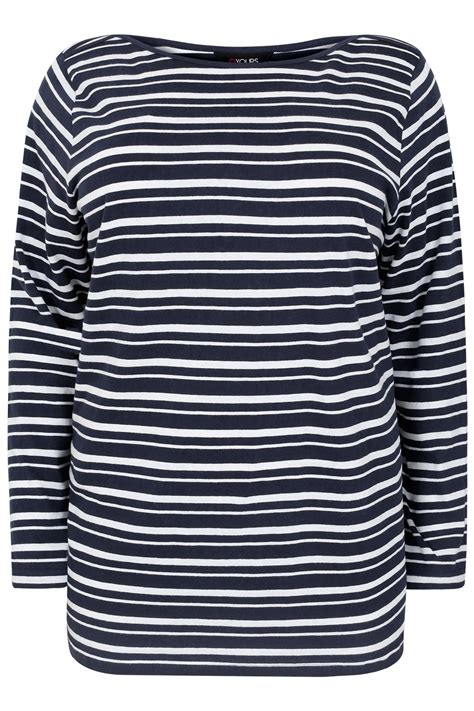 Navy Sleeve White navy white striped boat neck top with sleeves plus size 16 18 20 22 24 26 28 30 32 34 36