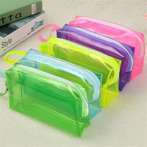 Zipper Bag Plastik 6 Colors Large Capacity Plastic Transparent Cosmetic