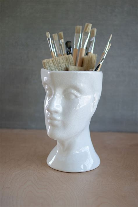 white ceramic head vase human head shaped ceramic vase
