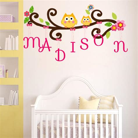name wall stickers australia owls on the branch with free personalised name wall