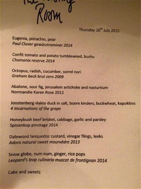 the tasting room menu menu 2 picture of the tasting room at le quartier francais franschhoek tripadvisor