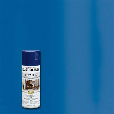 rust oleum stops rust 11 oz protective enamel metallic cobalt blue spray paint 7251830 the