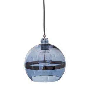 Blue Glass Pendant Light Globe Shaped Ceiling Pendant Light In Transparent Blue Glass