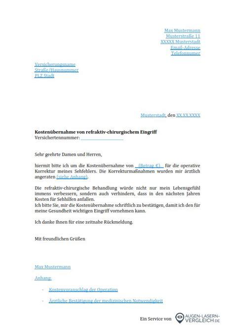 Pers Nlicher Brief Beispiel augenlaser op kosten 252 bernahme durch krankenkasse
