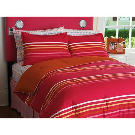 Orange And Pink Bedding by Your Zone Reversible Comforter And Sham Set Pink Stripe