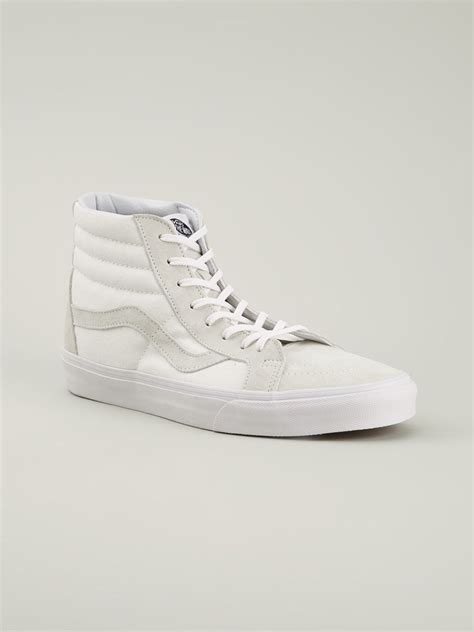 white high top sneakers for vans sk8 high top sneakers in white for lyst
