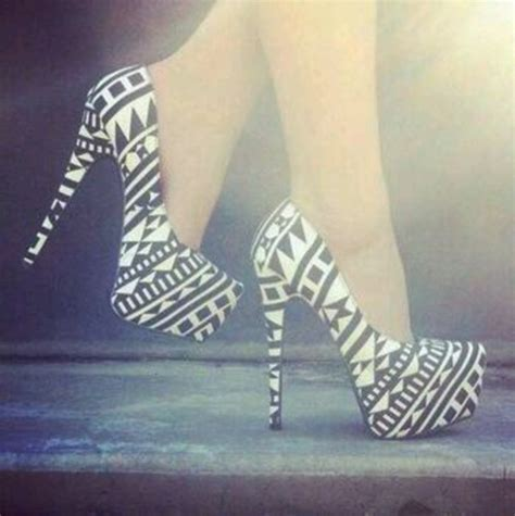 aztec pattern heels shoes aztec black high heels high heels white black
