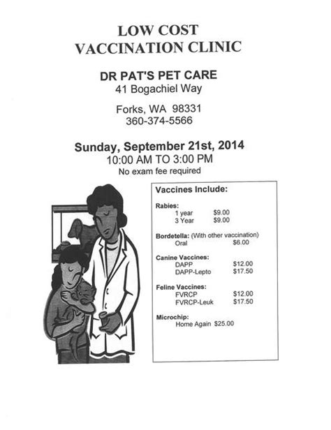 low cost vaccinations low cost vaccination clinic forks washington chamber of commerce