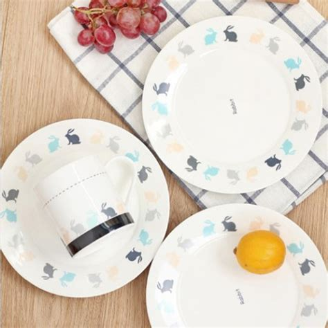 Decorative Plates For Kitchen by 5 Pieces Lot Nordic Style Keyama White Rabbit Series