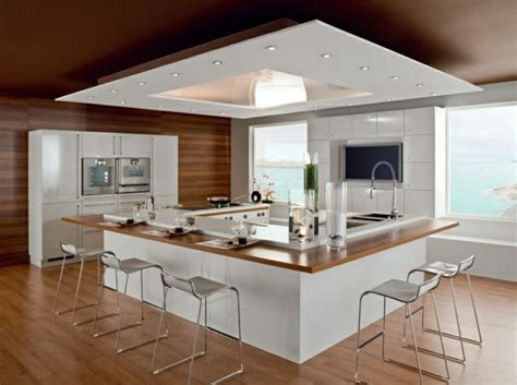 faux plafond cuisine ouverte 107 id 233 es de 238 lot central de cuisine fonctionnel et convivial
