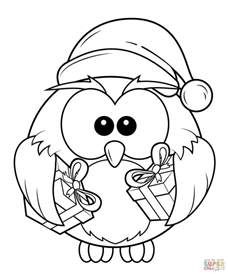 coloring pages free owl with gift boxes coloring page free