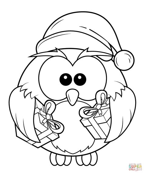Holiday Owl Coloring Page | christmas owl with gift boxes coloring page png 1584 215 1903