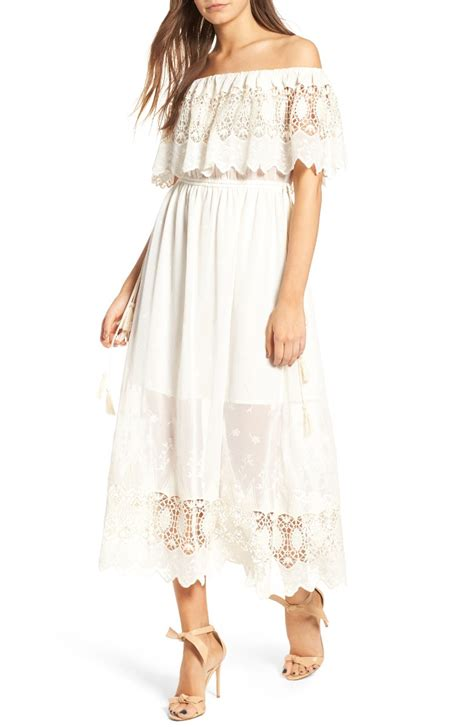 white the shoulder dresses on trend for summer 2017