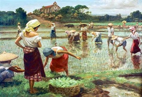 angelus paint philippines planting rice by painter fernando amorsolo