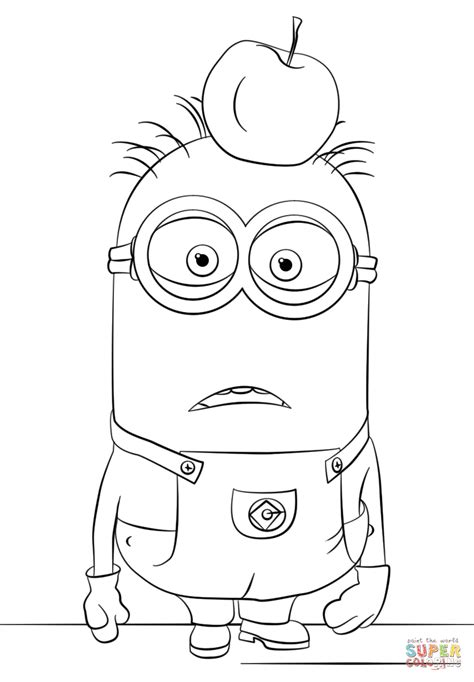 minions kevin coloring pages minion tom coloring page free printable coloring pages