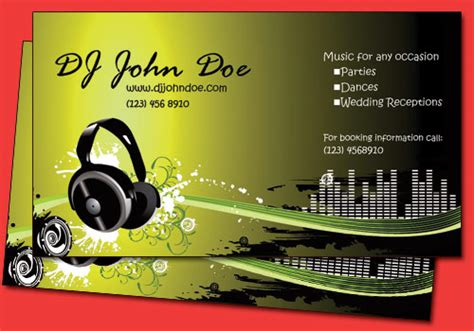 dj business cards templates all amazing designs dj business cards