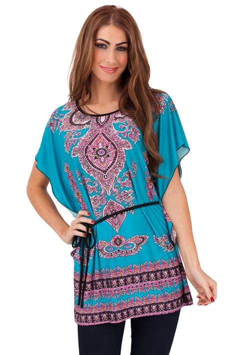 Summer Tunik 2 womens batwing tunic top summer t shirt tie belt size uk 8 16 ebay