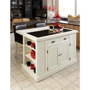 White Kitchen Island by Home Styles Nantucket White Kitchen Island With Granite