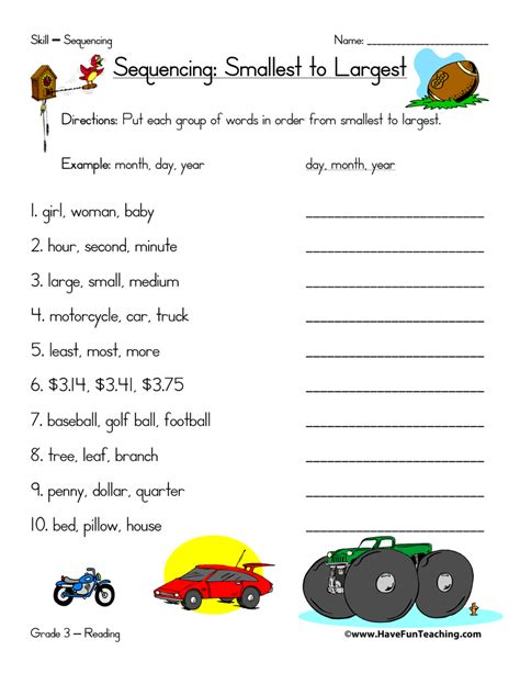 sequence and sequence worksheets page 2 of 2 teaching