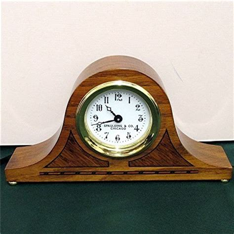 antique inlaid clock for desk or mantel by spaulding co