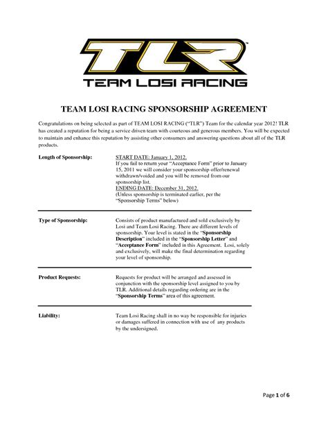 motorsports sponsorship template team losi racing sponsorship agreement chainimage